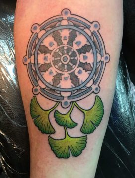 Dharma Wheel & Gingko leaves © Megan Oliver meganolivertattoos.com