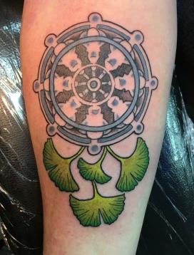 Dharma Wheel & Gingko leaves © Megan Oliver meganolivertattoos.com